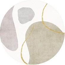 WJW-DT Beige Brown Grey Gold Rugs Round Geometric