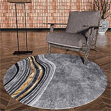 WJW-DT Golden Grey Carpet Round Geometric Style