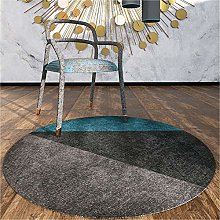 WJW-DT Gray Black Blue Round Geometric Style Rugs,