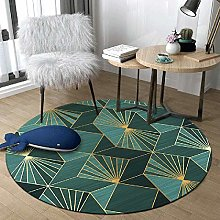 WJW-DT Green Gold Round Rug Area Rugs for Living