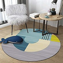 WJW-DT Grey Blue Beige Yellow Round Rug Area Rugs