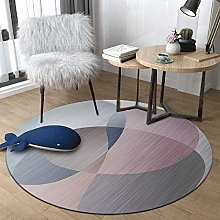 WJW-DT Grey Blue Pink Round Rug Area Rugs for