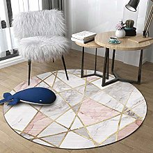 WJW-DT Pink Grey Round Rug Area Rugs for Living