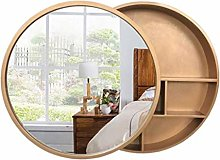 WLABCD Mirror European Solid Wood Bathroom Mirror