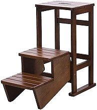WLABCD Step Stools,Wooden Convertible Ladder Step