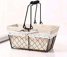 WLD Bread Bins Hand-Held Iron Storage Basket,