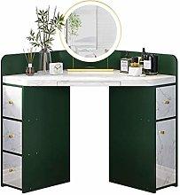 WLD Corner Dressing Table, Green Makeup Desk with