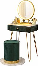 WLD Vanity Desk with Led Mirror, Stool and Drawer