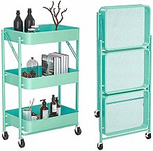 WLH 3 Tier Metal Foldable Rolling Cart, No Need To