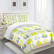 WLHRJ Duvet Cover 3 Pieces Yellow & Baby Elephant