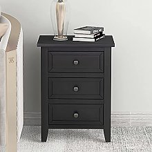 WLJBD Bedside table,Nightstands, 3 Drawers Wood