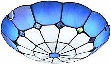 Wlnnes 30CM Blue Mediterranean Round Ceiling Lamp