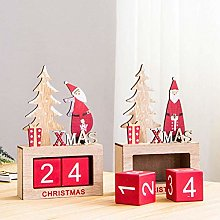 WLP-WF 1Pc Wood Calender Santa Block Vintage Desk