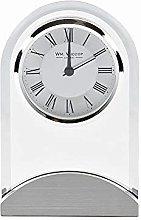 Wm Widdop Arched Glass Silver Effect Mantel Clock