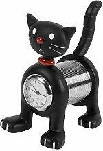 WM. Widdop Black Cat miniature clock
