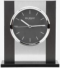 WM WIDDOP Black Glass & Brushed Aluminium Mantel