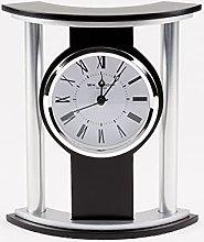 Wm Widdop Black & Silver Effect Mantel Clock 18cm