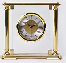WM WIDDOP Glass & Gold Aluminium Mantel Clock