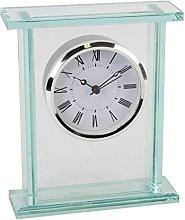 Wm.Widdop Glass Silver Bezel Mantel Clock