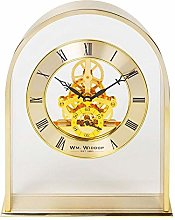Wm Widdop Gold Effect Arch Mantel Clock with