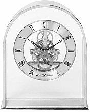 Wm Widdop Silver Effect Arch Mantel Clock with