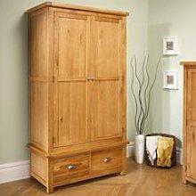 Woburn Oak Wooden 2 Door 2 Drawer Wardrobe