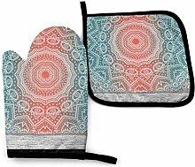 Wodann Mandala Wall Art Coral Pink Oven Mitts and
