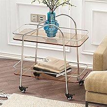 WODMB Sofa Side Table Glass Corner Table Mobile