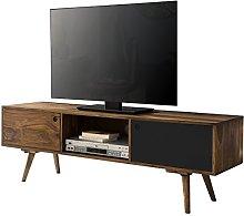 WOHNLING TV Lowboard Repa, 140 cm, Brown/Black