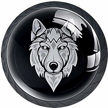 Wolf 4 Pack Round Drawer Knobs Crystal Glass 30mm
