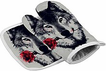 Wolf And Red Rose Heat Resistant Oven Gloves