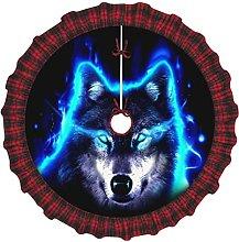 Wolf Art Wallpaper Christmas Tree Skirt, Lightness