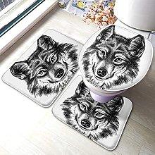 Wolf Bathmat,Coll Animal Wolf Face Art Design 3