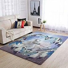 Wolf Dream Catcher Area Rug Patterned Soft