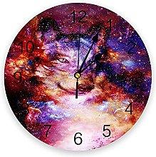Wolf Fantasy Starry Sky 3D Wall Clock Modern