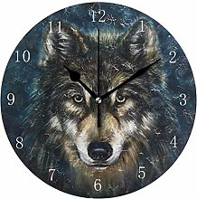 Wolf Head Wall Clock, Silent Non Ticking Battery