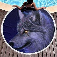 Wolf Printed Round Beach Towel Yoga Picnic Mat