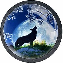 Wolf Under Tree Cabinet Door Knobs Handles Pulls