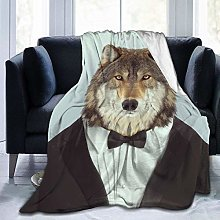 Wolf with A Bow Tie Ultra-Soft Fleece Blanket