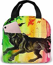 Wolf Yellow Lunch Bag Insulated Lunch Tote Handbag