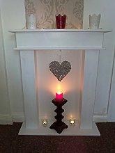 Wolkenstube decorative fireplace, white glitter,