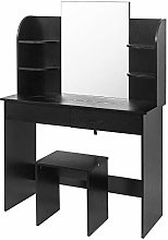 WOLTU Dressing Table Black with a Large Mirror