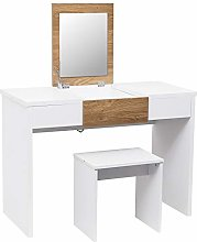 WOLTU Dressing Table White+Oak with a Foldable