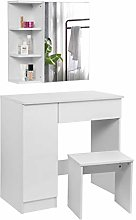 WOLTU Dressing Table White with a Mirror Cabinet