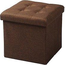 WOLTU Foldable Storage Ottoman Chair Stool Brown