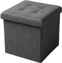 WOLTU Foldable Storage Ottoman Chair Stool Dark