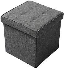 WOLTU Foldable Storage Ottoman Chair Stool Grey