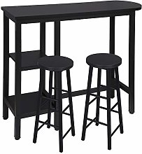 WOLTU Kitchen Bar Table with 2 Shelves and 2