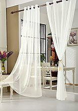 WOLTU Pair of Eyelet Ring Top Sheer Voile Curtains