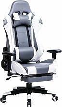 WOLTU Racing Chair Gaming Chair Grey+White Swivel